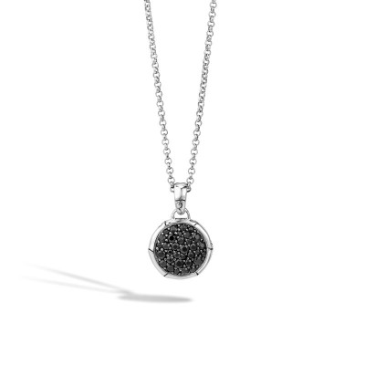 Bamboo Lava Black Sapphire Round Pendant with Chain