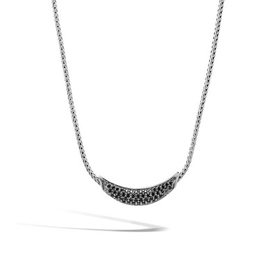 Classic Chain Arch Necklace with Black Sapphire & Black Spinel