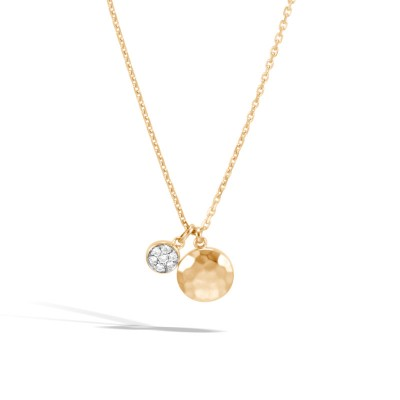 Dot Hammered Diamond Pave Pendant with Chain