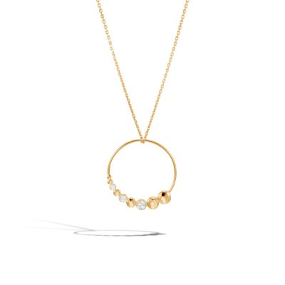 Dot Hammered Diamond Circle Pendant with Chain