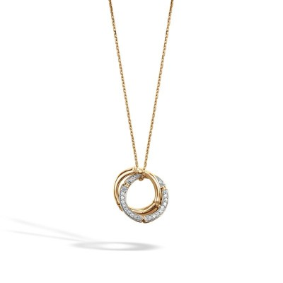 Bamboo Diamond Interlink Pendant with Chain