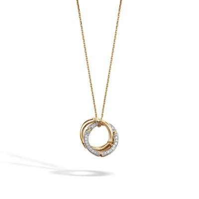 Bamboo Diamond Interlink Pendant with Chain