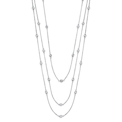 TRPL ROW Bezel Diamond Necklace
