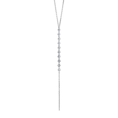 Bezel Stick Design Round Diamond Necklace