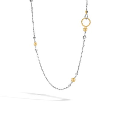 Dot Hammered Two-Tone Sautoir Necklace