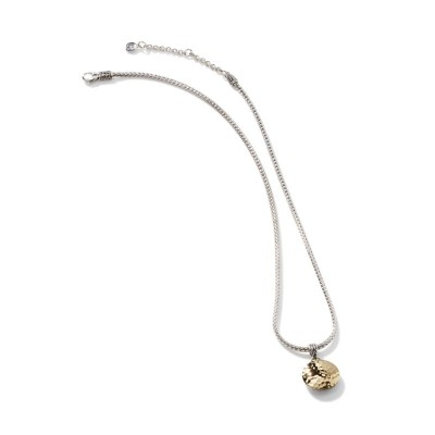 Dot Hammered Round Two-Tone Pendant with Chain