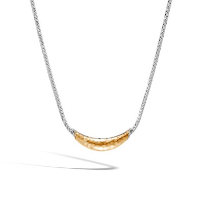 Classic Chain Hammered Arch Two-Tone Necklace