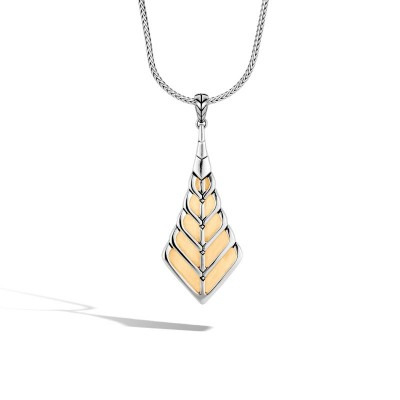 Modern Chain Two-Tone Foxtail Pendant with Chain