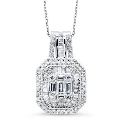 Round BAG Cluster Diamond Necklace