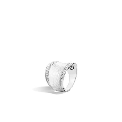 Classic Chain Hammered Diamond Pave Saddle Ring