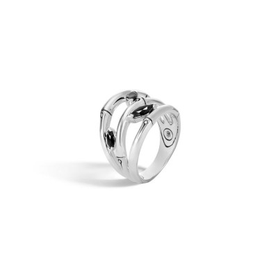 Bamboo 3-Row Ring with Black Spinel