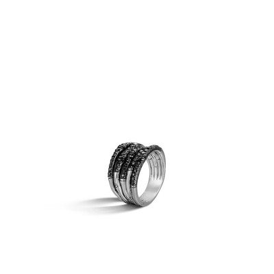 Bamboo Lava Wide Ring with Black Sapphire