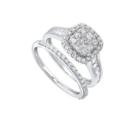 Diamond Dream Cushion Halo Engagement & Wedding Ring Set (1ctw)