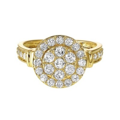 Diamond Studded Halo Ring in 14K Yellow Gold (1ct. tw.)
