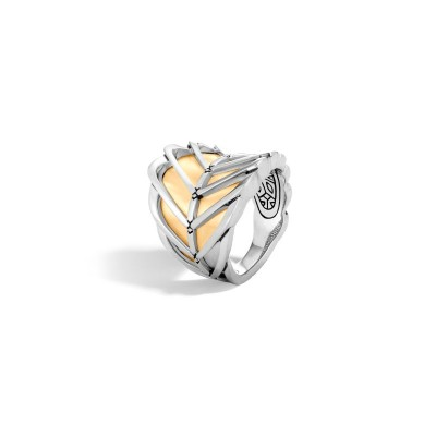 Modern Chain Two-Tone Saddle Ring