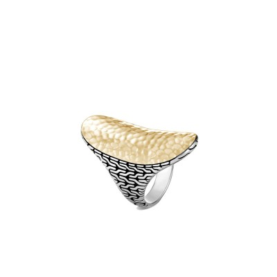 Classic Chain Hammered Two-Tone Saddle Ring