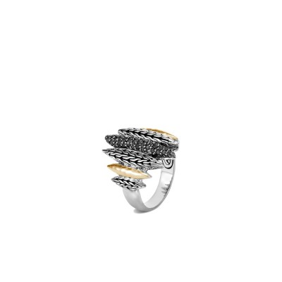Classic Chain Hammered Two-Tone Spear Ring with Black Sapphire & Black Spinel