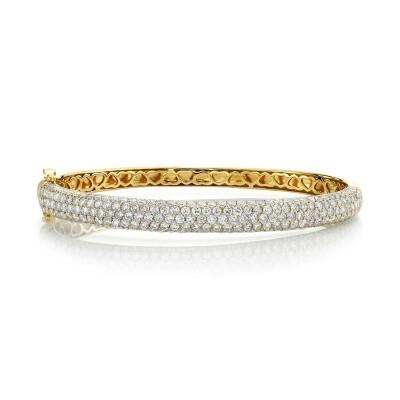 5.25ct 14k Yellow Gold Diamond Bangle
