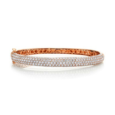 5.25ct 14k Rose Gold Diamond Bangle