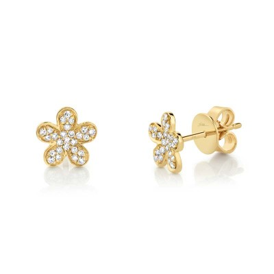 0.16ct 14k Yellow Gold Diamond Flower Stud Earring