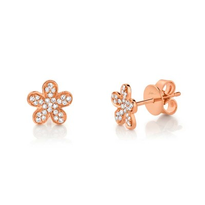 0.16ct 14k Rose Gold Diamond Flower Stud Earring