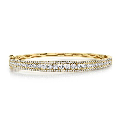 2.75ct 14k Yellow Gold Diamond Bangle