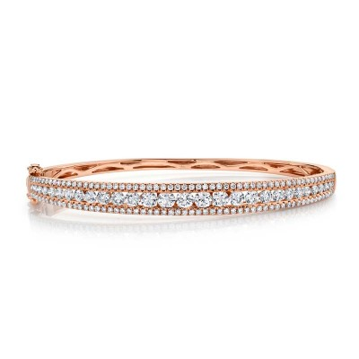 2.75ct 14k Rose Gold Diamond Bangle