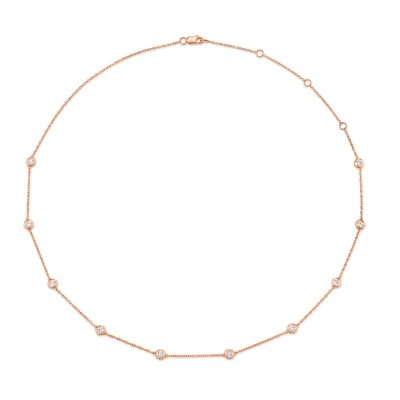 "1.02ct 14k Rose Gold 18"" Diamonds By The Yard Chain"