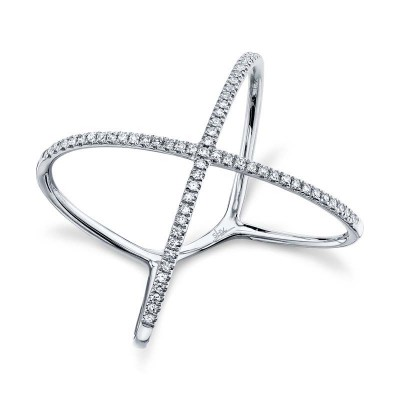 "0.18ct 14k White Gold Diamond Lady's ""X"" Ring"