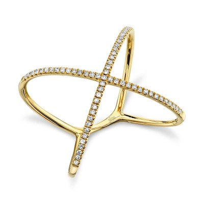"0.18ct 14k Yellow Gold Diamond Lady's ""X"" Ring"