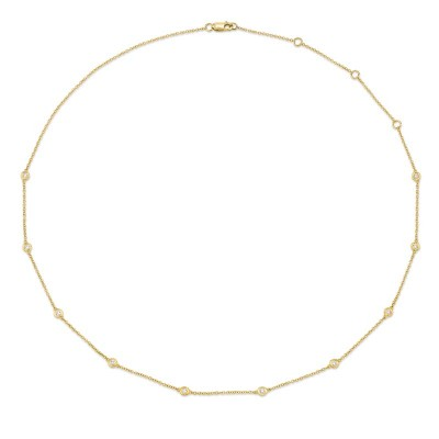 "0.28ct 14k Yellow Gold 18"" Diamonds By The Yard Chain"