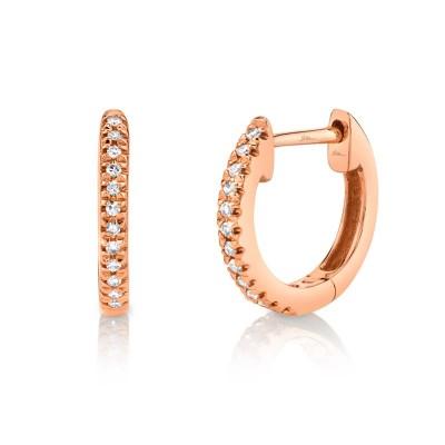 0.07ct 14k Rose Gold Diamond Huggie Earring