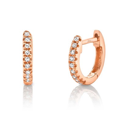 0.04ct 14k Rose Gold Diamond Huggie Earring