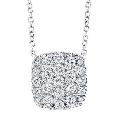 0.53ct 14k White Gold Diamond Pave Necklace