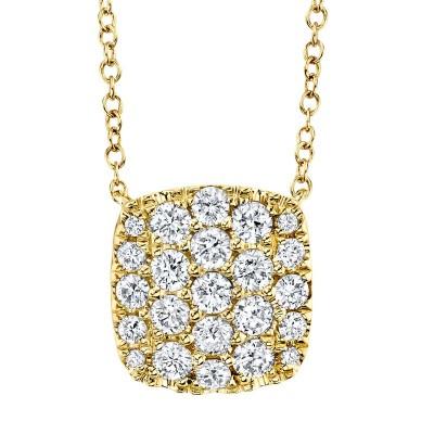 0.53ct 14k Yellow Gold Diamond Pave Necklace