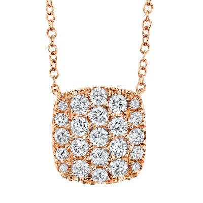 0.53ct 14k Rose Gold Diamond Pave Necklace