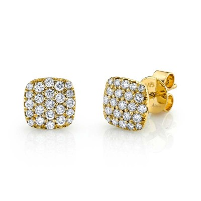 0.50ct 14k Yellow Gold Diamond Pave Stud Earring
