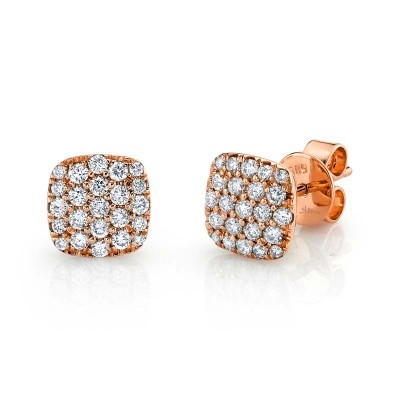 0.50ct 14k Rose Gold Diamond Pave Stud Earring