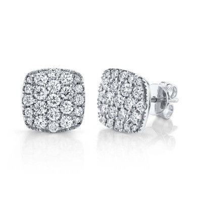 1.10ct 14k White Gold Diamond Pave Stud Earring