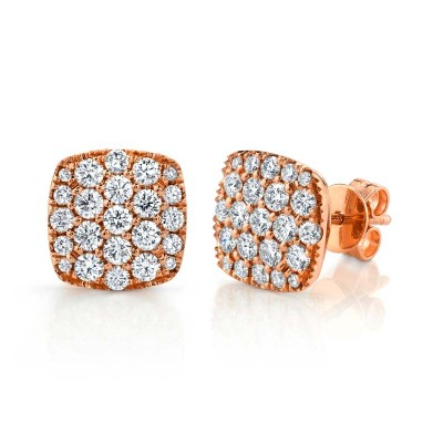 1.10ct 14k Rose Gold Diamond Pave Stud Earring