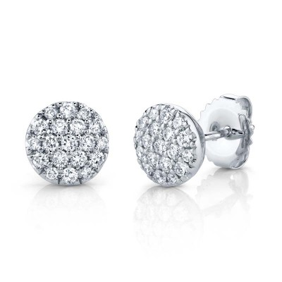 0.48ct 14k White Gold Diamond Pave Circle Stud Earring