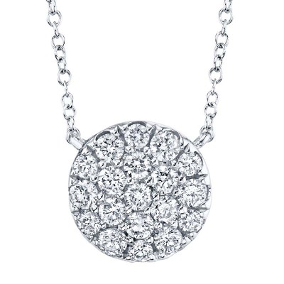 0.43ct 14k White Gold Diamond Pave Circle Necklace