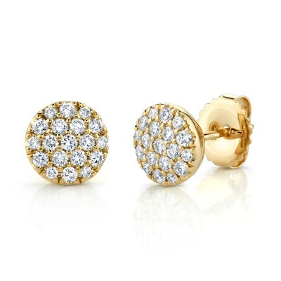 0.48ct 14k Yellow Gold Diamond Pave Circle Stud Earring