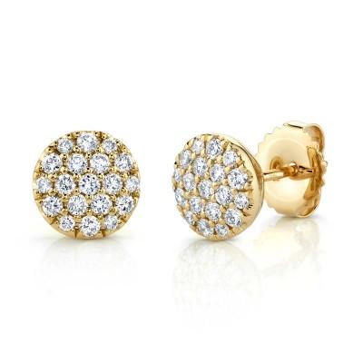 0.48ct 14k Yellow Gold Diamond Pave Circle Stud Earring