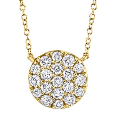 0.43ct 14k Yellow Gold Diamond Pave Circle Necklace