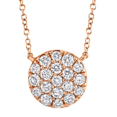 0.43ct 14k Rose Gold Diamond Pave Circle Necklace