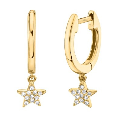 0.04ct 14k Yellow Gold Diamond Star Huggie Earring