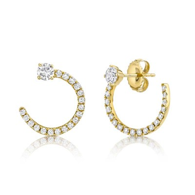 0.93ct 14k Yellow Gold Diamond Earring