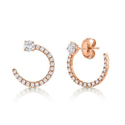 0.93ct 14k Rose Gold Diamond Earring