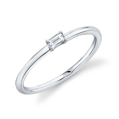 0.07ct 14k White Gold Diamond Baguette Ring